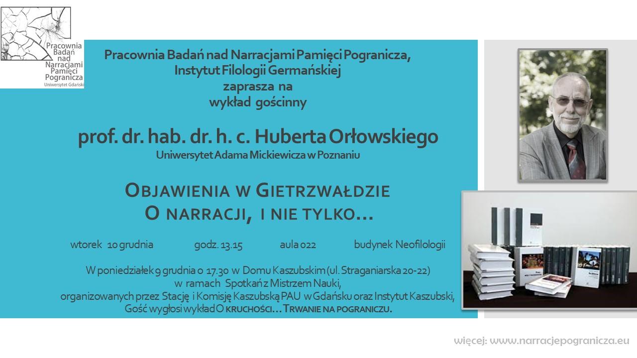 zaproszenie wykład prof. Huberta Orłowskiego